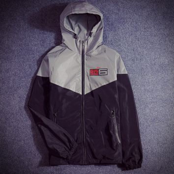 Supreme Unisex Lighting Windbreaker Supreme Thin and thick Reflective clothes hoodies big monster letters Front