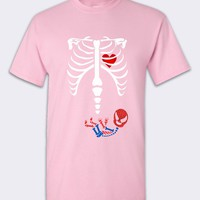 Baby Spiderman Skeleton Pregnant Tshirt Pink