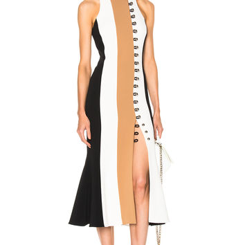 David Koma Loops & Metal Front Detail Paneled Tea Dress in Black & Beige & White | FWRD