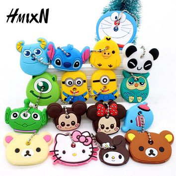 Cartoon Anime Minion Cute Owl Key Cover mickey stitch Bear Keychain Silicone Hello Kitty porte clef cat cap minne key protection