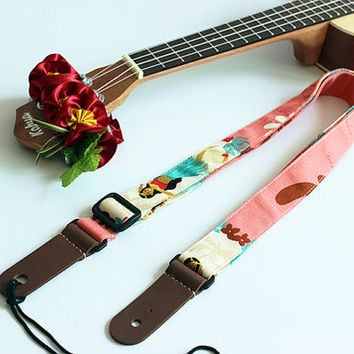 Ukulele strap & ribbon lei / hula girl p / ukulele strap / hawaiian fabric  /ukulele accessory / hawaiian ribbon lei / instrument strap