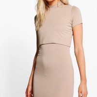 Petite Melanie Turtleneck Double Layer Dress | Boohoo