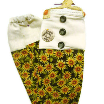 Fabric Plastic Bag Holder/ Grocery Bag Holder/ Sunflowers/ Yellow and Green