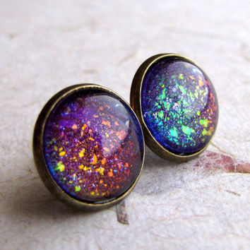Rainbow Explosion 12mm Antiqued Brass Post Earrings