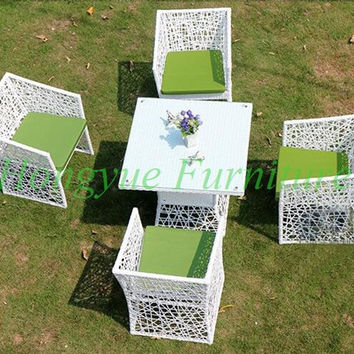 Outdoor garden white rattan wicker table chairs set 2016 new designs chairs