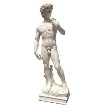 David Statue by Michelangelo Contemplating Battle with Goliath 10.5H