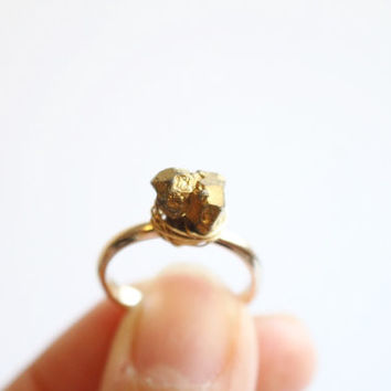 Gold Nugget Ring Wire wrapped Raw Crystal Quartz twist 18k gold ring, simple, natural, gem, unique eco friendly