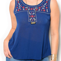 Navy Plus Size Casual Floral Embroidered Front Keyhole Back Sleeveless High Low Top