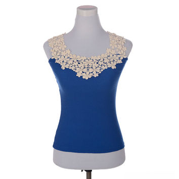 5 colors girl Occident Fashion Lace Floral Sleeveless Crochet Collar Women Vest Tank Top Shirt