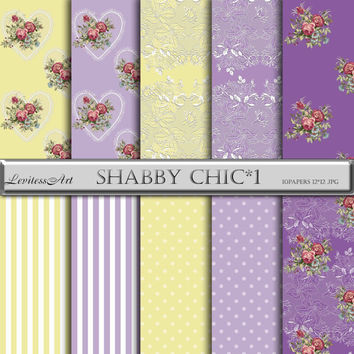 "Shabby Chic Digital Paper:"" Shabby сhic*1"" with roses,lace, hearts, stripes,polkadot in lilac,yellow for wedding invites,cards,design"