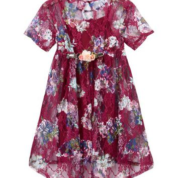 Zunie Burgundy Floral A-Line Dress - Girls