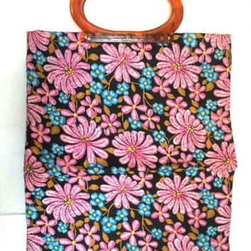 Lady's Pride Vintage Tote Bag Retro Pink Blue Floral plastic handle MOD hippie
