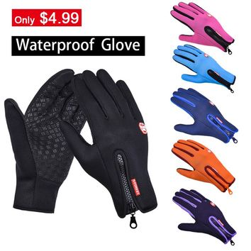 Women's Leather Gloves & Mittens Driving Touch Screen Gloves Male Female Windproof Waterproof Glove  Men's Winter Gloves