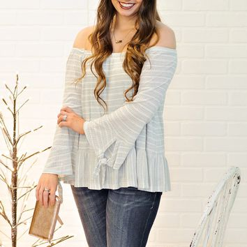 * Teghan Striped Off The Shoulder Top : Sage