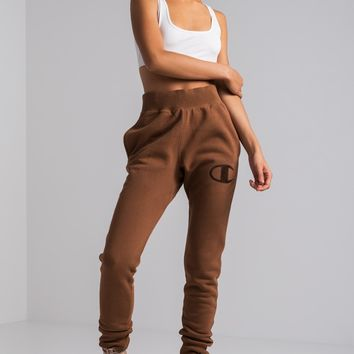 Champion Big C Embroidered Patch Cuffed Hem Women's Jogger in Brown