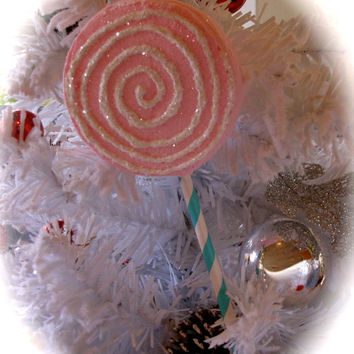 "Fake Lollipop Ornament ""Sparkly & Whimsy Goodie Collection"" Pink Lollie w/White Swirl Fabulous Photo Prop 12 Legs Original Design"