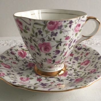 Briar Rose Chintz Clarence China Tea Cup & Saucer