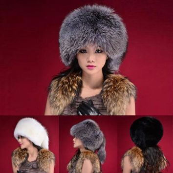 ESBU3C Fashion Warm Winter Tail Beanie Beret Cap Womens Faux Fur Ear Earflap Hat