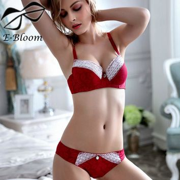 Push Up Cotton Lace Surface Thick Cup Bra Set Matching Panty Adjustable Wine Red Bras Set Soutien Gorge Sexy Underwear Women