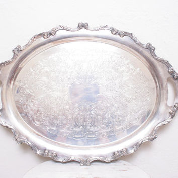 Beautiful Antique Giant Tarnished Engraved Ornate Silver Oval Serving Tray for Hor D'Oeurves or Jewelry