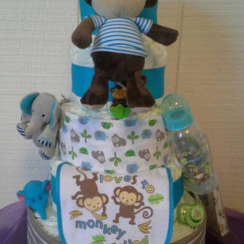 Blue Brown and Green Monkey and Elephant Themed Baby Boy Shower 5 Tier Monkey and Elephants Diaper Cake Table Centerpiece Baby Boy Gift