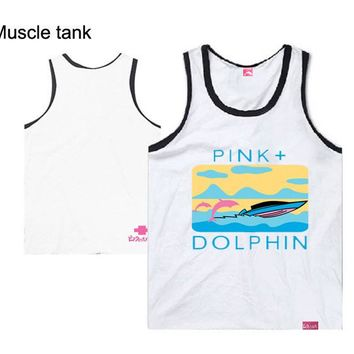 2018 new style casual hip hop men's undershirt handsome for men pink dolphin plus size s-xxxl  top quality streetwear print