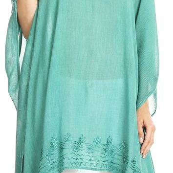 Sakkas Regina Women's Lightweight Stonewashed Poncho Top Blouse Caftan Cover up