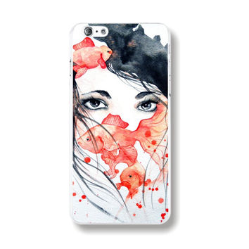 """Transparent Edge Fashion Baeautiful Japanese Art Fish & Women Painting Hard PC Mobile Phone Cover Case Shell For Apple iPhone 6 6s 4.7"""" Inch"""