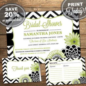 Bridal Shower Package, Invitation, Recipe Card, Thank You Card, Chevron, Floral, Flowers, Green, Black, White, Printable (INSTANT Download)