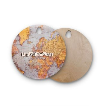 "Sylvia Cook ""Adventure Map"" World Round Wooden Cutting Board"