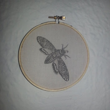 Death's-head Hawkmoth (also known as Death Moth) Print on Muslin 4 Inch Embroidery Hoop