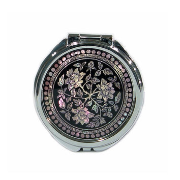Mother of Pearl Peony Flower 2x Magnification Double Compact Cosmetic Makeup Vanity Portable Folding Purse Beauty Pocket Mirror