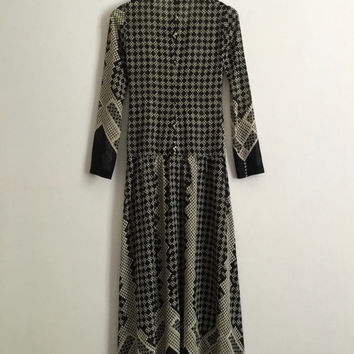 Vintage 1970s 'Marilyn Roche' geometric print cotton voile maxi dress with dropped waist and gathered skirt