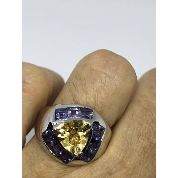 Vintage Gothic Golden Citrine and Blue Tanzanite 925 Sterling Silver Ring