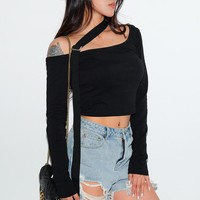 Fashion Irregular Off Shoulder Single Shoulder Long Sleeve T-shirt Crop Tops