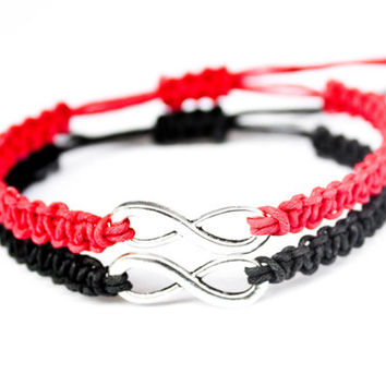 Infinity Friendship Bracelets Red and Black Hemp Couples Bracelets