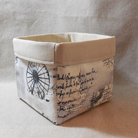 Lovely Beige and Black Paris Themed Fabric Basket