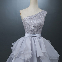 One-shoulder Short Chiffon Homecoming Dress Lace-up With Bowknot