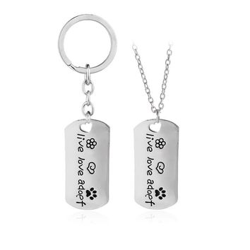 "2016 New Rectangular Dog Tag Style Pendant Necklace Cat Dogs "" live love adopt "" Pet Rescue Paw Print Tag Jewelry"
