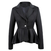 Long Sleeve One Button Flouncing Blazer