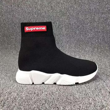 Supreme Fashion Women Men Stretch Fabric Socks Boots Sport Shoe I-CSXY