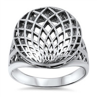 925 Sterling Silver Sacred Geometry Ring 17MM