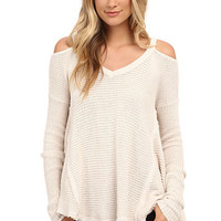 Over the Moon Cold Shoulder Waffle Knit Sweater