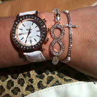 Rose Gold and White Stack Set of 3 Rhinestone Infinity and Cross Bracelets Watch Included