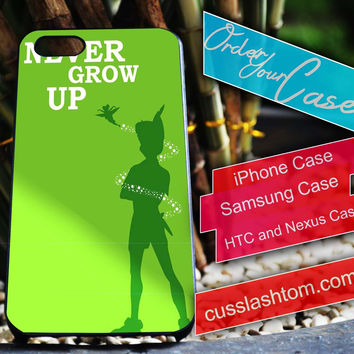 Exclusive Peterpan Never Grow Up iPhone for 4 5 5c 6 Plus Case, Samsung Galaxy for S3 S4 S5 Note 3 4 Case, iPod for 4 5 Case, HtC One M7 M8