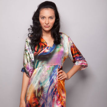 Shades - 100% Natural Silk Satin Unique Women Long Sleeve Tunic/Blouse