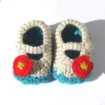 Sweet Flower Baby Booties   Eco Friendly  Hand Knit  by joretta