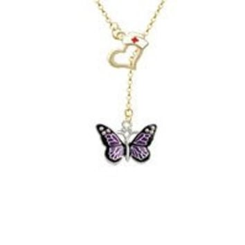 Large Purple Butterfly with 6 AB Crystals Gold Tone Nurse Hat Heart Lariat Necklace
