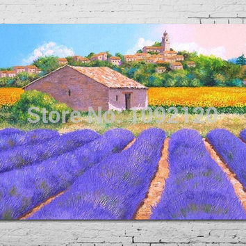 Hot Sell Product Impressionist Canvas Oil Painting Hand Painted Purple Lavender Landscape Decor Paintings For Living Room