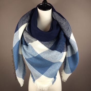 Blue and White Blanket Scarf